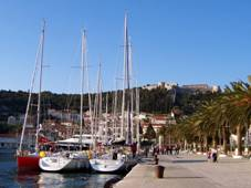 Hvar town port and castle